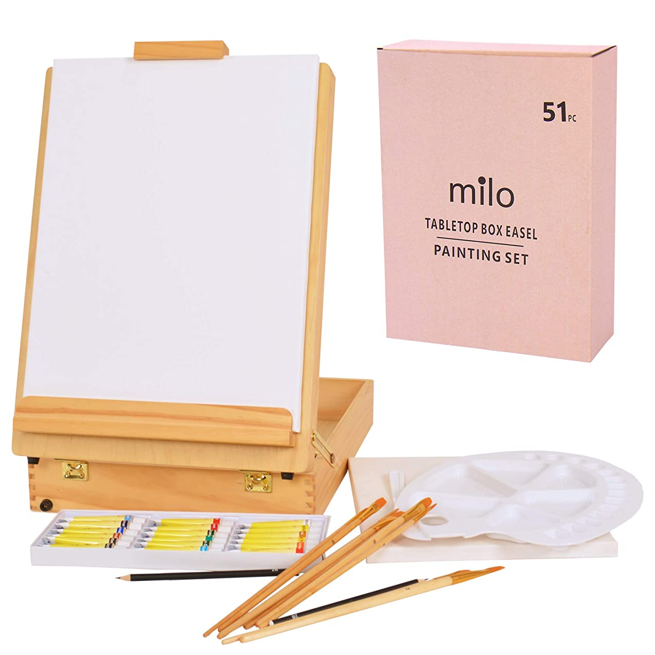 Milo   Tabletop Easel Box Art Set 51 Piece Painting Set   Includes Two Pre Stretched Canvases, Brush Set, Acrylic Paint Set, Easel