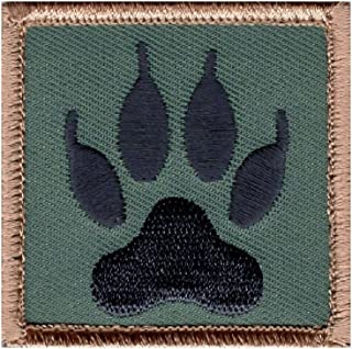 Wolf Tracker Paw Embroidered Morale Hook Fastener Patch (WTP2)