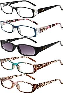 LianSan Rechthoek Zonnelezers Brillen 1.0 1.25 1.5 1.75 2.0 2.25 2.5 2.75 3.0 3.5 4.0 Dames Zonnebril Leesbril L3200 5-Pac...
