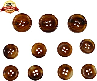 Set of 11 Premium Light Chestnut Brown with Tan Buffalo Horn Buttons for Sport Coats, Blazers, and Suit Jackets
