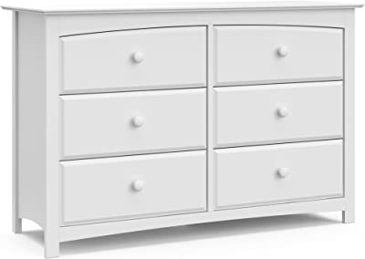 StorkCraft Kenton 6 Drawer Universal Dresser, White, Kids Bedroom Dresser with 6 Drawers, Wood & Composite Construction, Ideal for Nursery Toddlers Room Kids Room