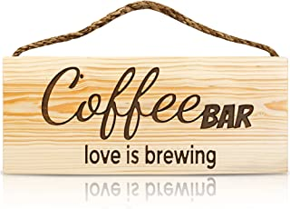 patioycarbon Coffee Bar Wall Art Sign Decor Rustic Home Wood Decorative Sign Love is Brewing Coffee Bar Accessories Hangin...
