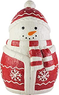 American Atelier Holiday Cookie Jar – Winter Snowman Ceramic Jar Canister with Airtight Lid for Cookies, Candies, Chocolates, Coffee, Tea & More – Unique Gift Idea for Christmas or Birthday – Large