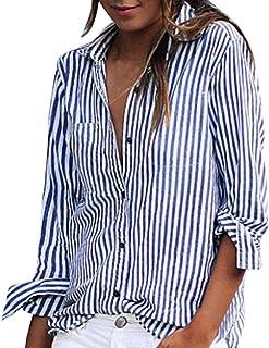 ddcc630bc441b9 OverDose Damen Casual Gestreift Hemd Frauen Fashon Striped Langarm lose  Bluse T-Shirt Tops Oberteile