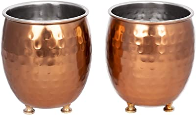 GoCraft Succulent Planter Pot Set of 2 - Hammered Copper Finish Mule Mug Inspired, Small Cactus Herb Plant Pot Window Box Container for Home Office Desktop Tabletop Decoration