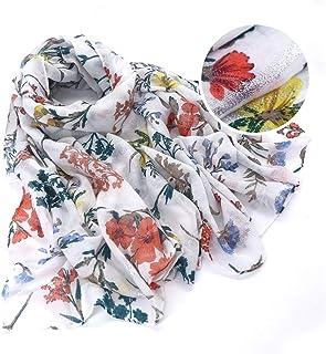 MIG4U Large Scarfs for Women, Lightweight Floral Print Silk Like Scarves Shawls Wraps Summer Spring