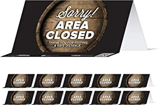 """BeSafe Messaging""""Sorry! Area Closed, Thank You for Keeping A Safe Distance"""" Barrel, Table Top Tent Card, 8""""x3.875"""", Restau..."""