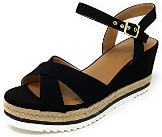 City Classified Ongoings Womens Strappy Espadrille Ankle Buckle Two Tone Rubber Flatform Heel Sandals