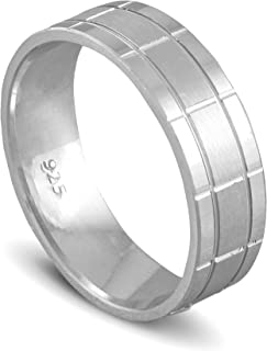 chimoda Mens Silver 7mm Band Ring in 925 Sterling Men's Jewelry