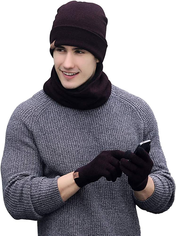 JTJFIT Winter Knitted Hat Scarf Gloves Three Sets for Men and Women,3 Pieces