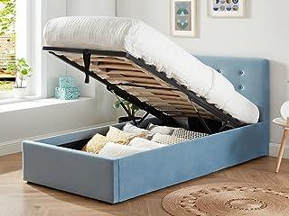 HOMIFAB Lit Coffre Enfant 90x190 en Velours Bleu avec tête de lit, sommier à Lattes et Rangement - Collection Tina