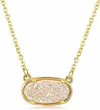 Ellena Rose Dainty Druzy Necklace, 100 Percent Natural Druzy, 14K Gold Plated Oval Druzy Pendant Necklace Women, Druzy Necklaces Women, Genuine Druzy Jewelry