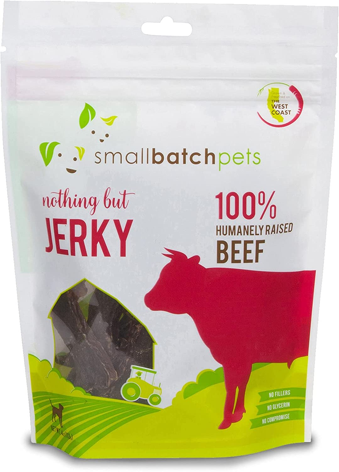 Smallbatch Pets Premium Beef Jerky Treat for Dogs and Cats, 4 oz, Made and Sourced in The USA, Single Ingredient, Humanely Raised Meat, Glycerin Free, Preservative Free, Gently Dehydrated