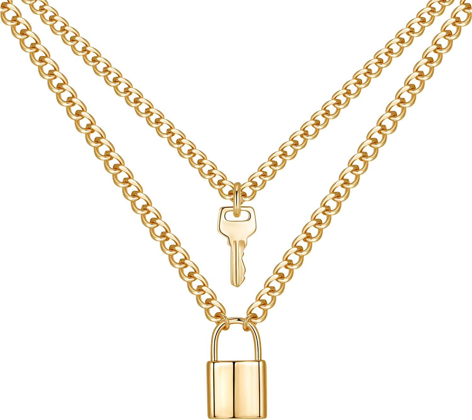 MONOZO Lock Necklace for Women, 14K Gold Filled Padlock Lock Pendant Chain Necklace Girls Dainty Layered Lock and Key Choker Necklace Jewelry for Men