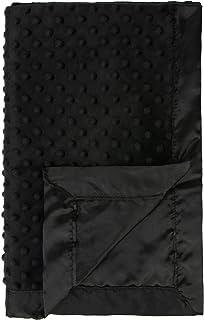 Pro Goleem Baby Soft Minky Dot Blanket with Satin Backing Gift for Boys and Girls Best for Summer (Black, 30'' x 40'')