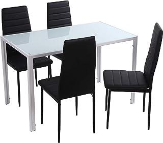 Noorsk Design Conjunto de Mesa de Comedor 120x70 + 4 sillas Clasik (Sillas Negras)