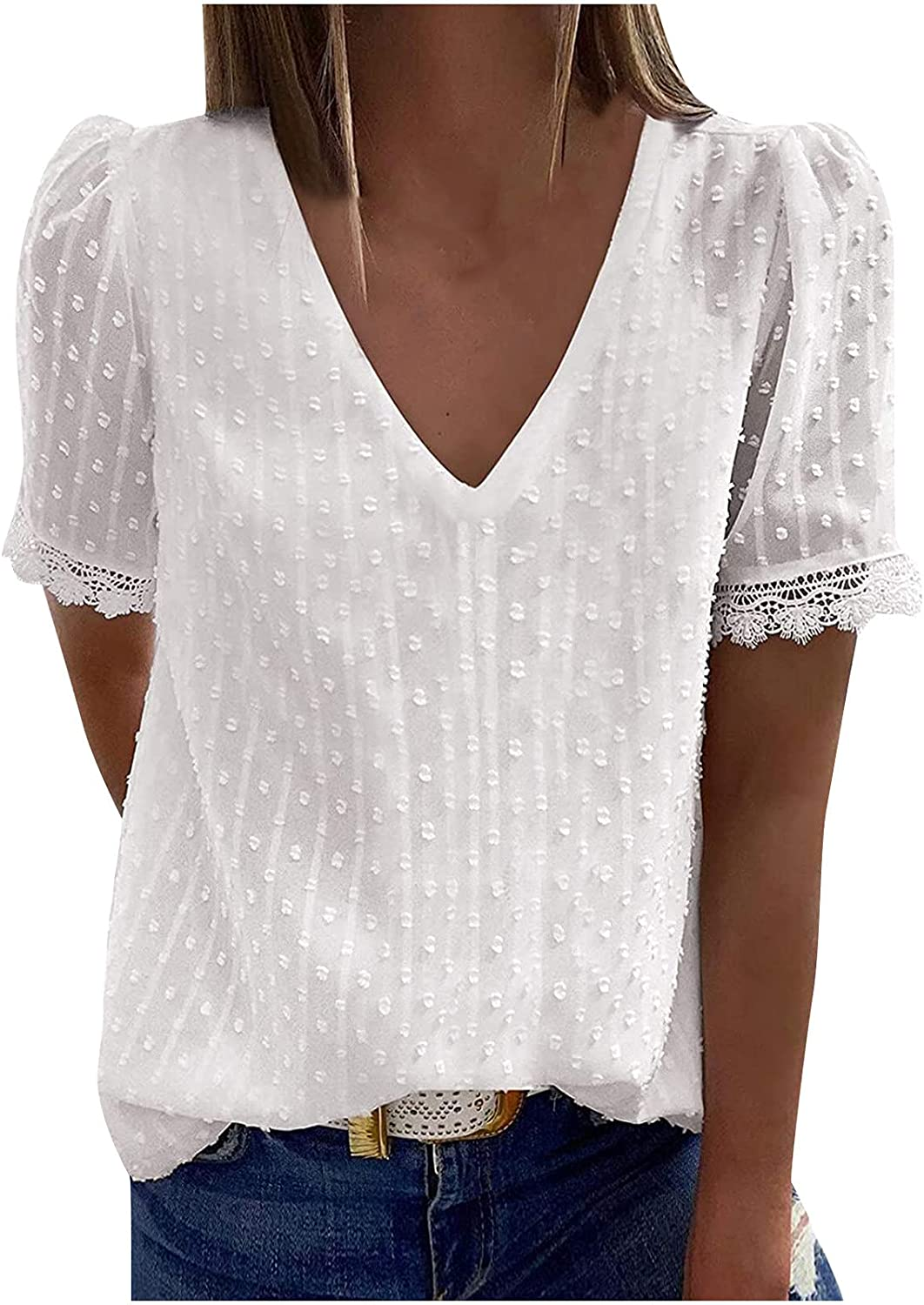 Women Fort Worth Mall Blouses and Tops Soldering Fashion for Work Sho Solid Casual