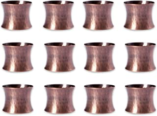 DII Basic Everyday Napkin Rings for Place Settings, Wedding Receptions, Dinner or Holiday Parties, & Family Gatherings (Set of 12), Hammered Antique Copper