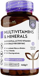 Multivitaminas y Minerales - 365 Comprimidos Veganos - Complejo Vitaminico con 26 Activos Esenciales Vitamina D3, C, A, B,...