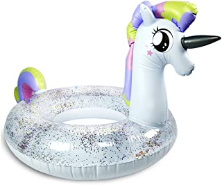 Unicorn Pool Floats for Kids - Children's Swim Ring, Clear Top with Pieces of Glitter Inside (90 CM)-087