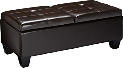 Christopher Knight Home Murray Double Opening Leather Storage Ottoman, Brown