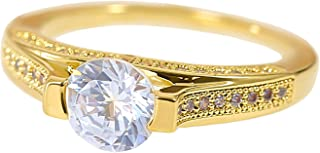 MOONSTONE Women's Fashion Engagement Ring Dazzling Round Cut Prong Setting, Ladies Accessories