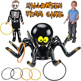 TURNMEON Halloween Inflatable Spider Ring Toss Game, Fun Halloween Party Game Outdoor Indoor Party Game Spider Toys Creepy Spooky Game for Kids Halloween Witch Hat School Party Carnival (4 Rings)