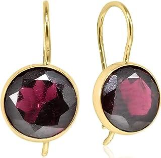 Details about  /14k 14kt Yellow Gold Diamond /& Garnet Birthstone Earrings 7mm X 3mm