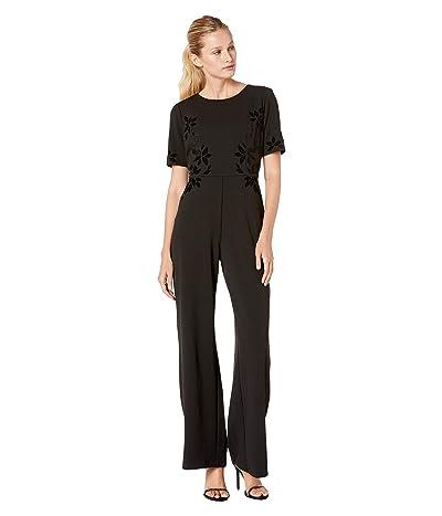 Adrianna Papell Velvet Applique Crepe Jumpsuit (Black) Women