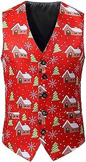Camiseta sin Mangas con Estampado Navideño para Hombre Chaqueta Estampado Navideño Traje Camiseta de Navidad para Hombre,Rojo