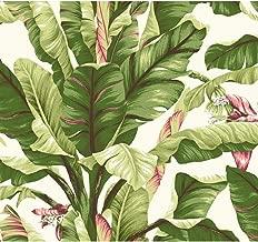 York Wallcoverings Tropics Banana Leaf Removable Wallpaper, White, Light Yellow Dark Green, Brown