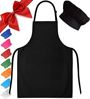Dapper&Doll Black Kids Chef Hat and Apron for Boys Girls Ages 4-10