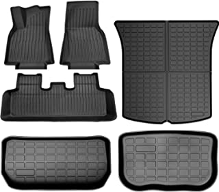 SUPER LINER All Weather Floor Mats for Tesla Model Y 5-Seat 2020 2021 Custom Fit TPE Car Floor Mats Cargo Liner Rear Cargo Tray Trunk Interior Accessories (Does NOT fit 7-Seat)