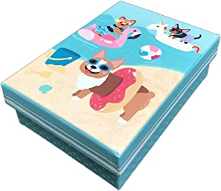 Cute Summertime Dogs at The Beach Small Decorative Storage Gift Box