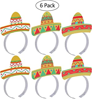 OULII Cinco De Mayo Fiesta Head band Party Colorful Sombrero Headbands Accessories Party Supplies Pack 6pcs
