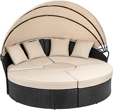 Walsunny Patio Furniture Outdoor Lawn Backyard Poolside Garden Round Daybed with Retractable Canopy Wicker Rattan, Seating Se