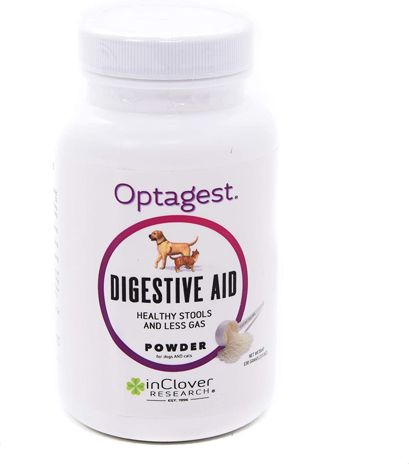 Optagest by InClover, Dog Digestion Support, Organic Natural Prebiotic Daily Pet Supplement, Aids Dog Digestion, Supplements Dog GI Tract, Natural Plant Enzymes Help Dog Health, USDA NASC Certified