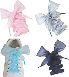 Shoe Laces, 4 Pairs Soft Casual Flat Satin Ribbon Shoelaces for Women Girls Sneaker Shoestrings 4CM Wide