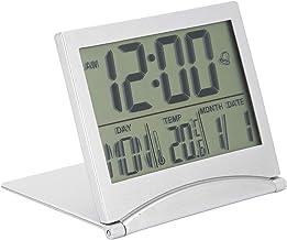 Elektroniskt Kompakt Skrivbord Väckarklocka Fällbar Kalendertemperatur Timer Timer för Resor