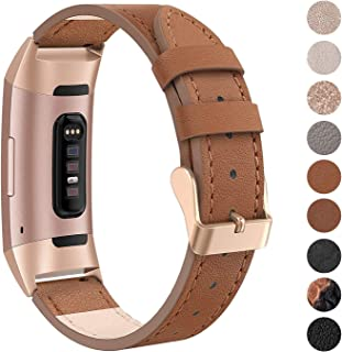 SWEES Leather Bands Compatible Fitbit Charge 3 & Charge 3 SE, Genuine Leather Band Strap Wristband Replacement Fitbit Charge 3 Women Men Small & Large, Black, Rose Gold, Beige, Brown, Grey, Tan