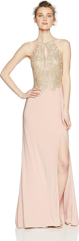 Blondie Nites Womens Long Slim Halter Applique Prom Dress