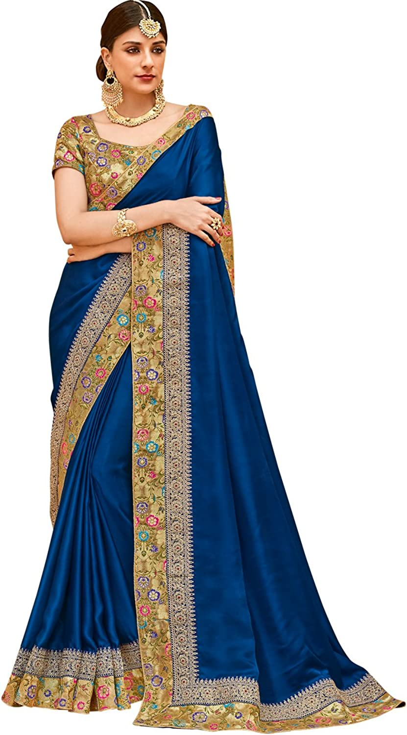 Indian Ethnicwear Bollywood Wedding Faux Crepe Silk Royel bluee Coloured Fancy Saree
