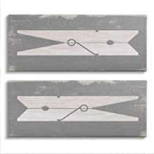 Stupell Industries Simple Laundry Clothespins Distressed Grey Design Wall Art, 2pc, each 13 x 30