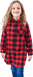 Welity Girls' Flannel Plaid Long Shirt
