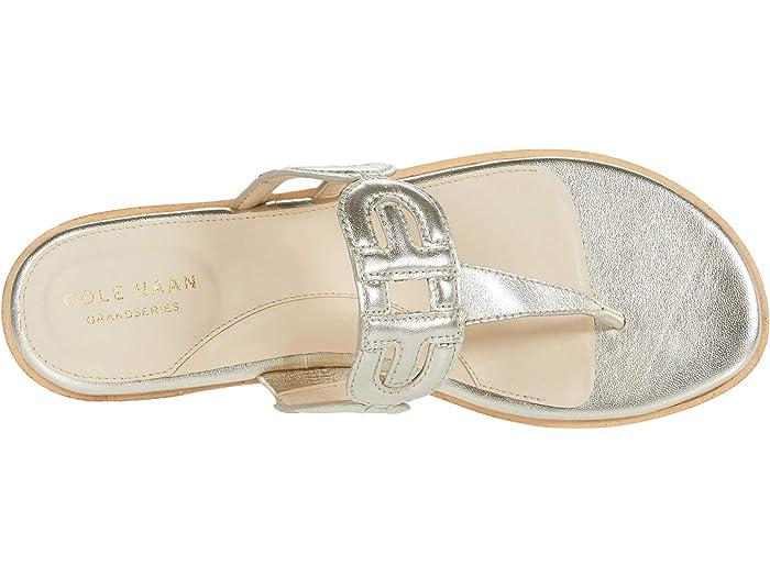 Cole Haan Sandal Anoushka Gold Metallic Leher Nural Heavy Stitch/dark Sandals