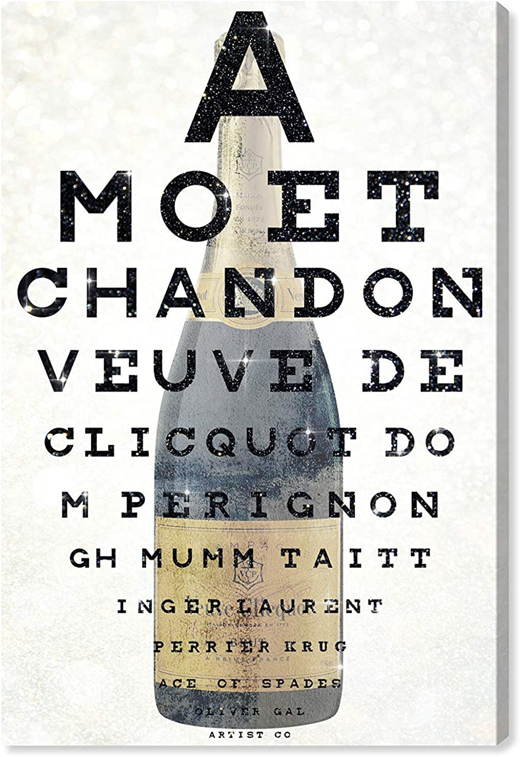 The Oliver Gal Artist Co..  Champagne Eye Chart   Contemporary Premium Canvas Art Prints 16  x 24  Beige