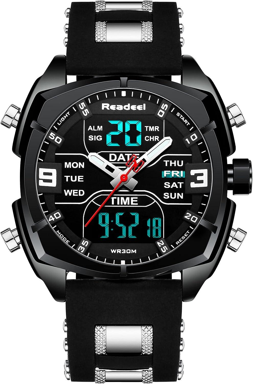 Youwen - Reloj deportivo multifunción para hombre, reloj militar, doble hora, LED, digital, cuarzo, resistente al agua, cronógrafo