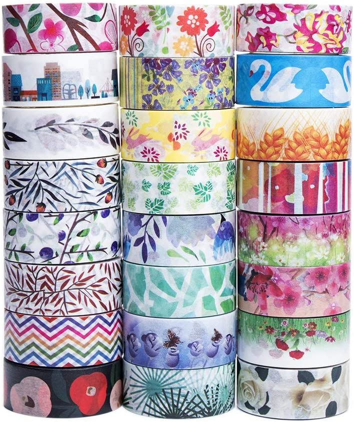 Cute Washi Tape Set - The Theme of Nature, 24 Different Designs About Floral Japanese Pastel, Decorative Masking Tape for Arts and DIY Crafts, Bullet Journal