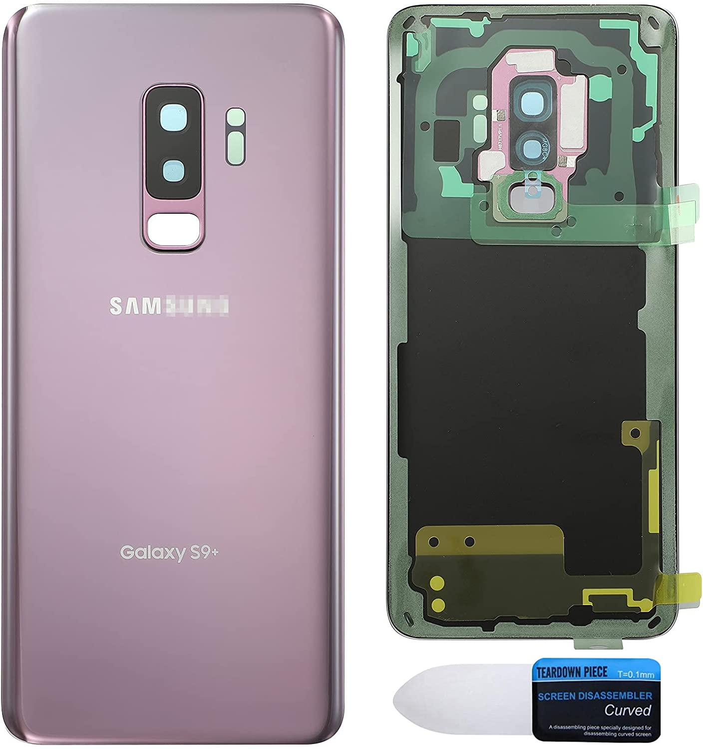 Maya Replacement Back Glass Cover Back Battery Door w/Pre-Installed Camera Lens/Frame, Adhesive & Removal Tool Samsung Galaxy S9+ Plus - All Models G965U All Carriers (Lilac Purple)