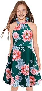 Miss Bei Girls Dresses Sleeveless Printed Flower Summer Dress Halter Neck Loose Casual Dresses
